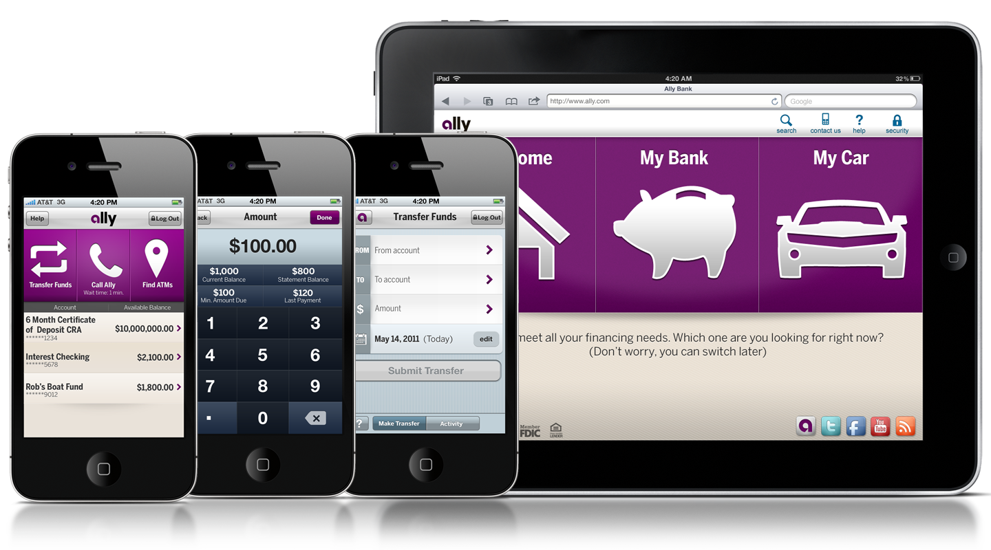 Screenshots of mobile banking app